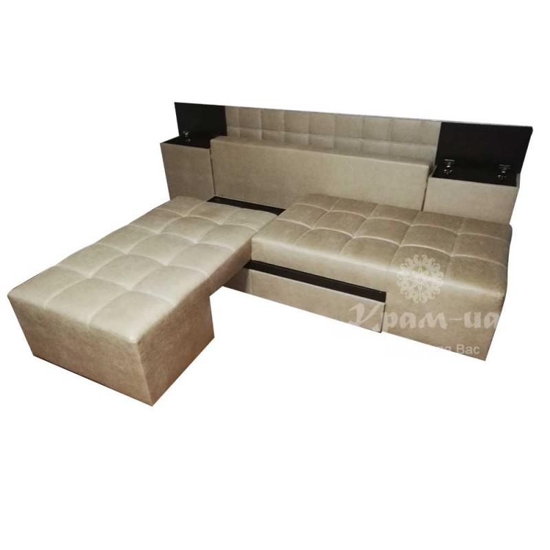 Диван - ліжко трансформер прайм:  ніші в тумбах. З шухлядами внизу та молдингом.