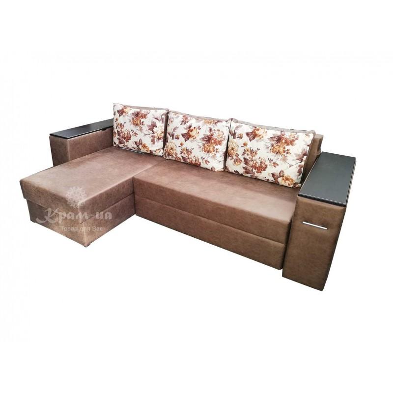Кутовий диван з міні-баром, в бильці та столиком